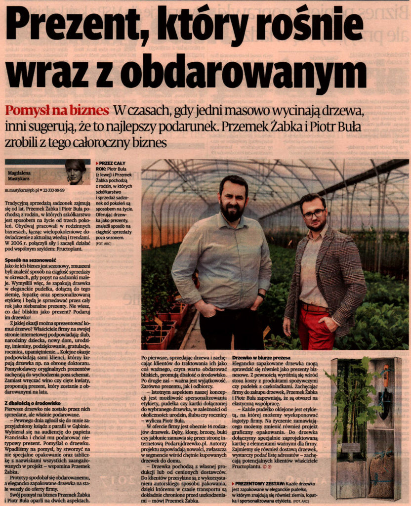 Podarujdrzewko.pl w Puls Biznesu 2